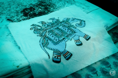 Hand block printed cotton silk textiles example